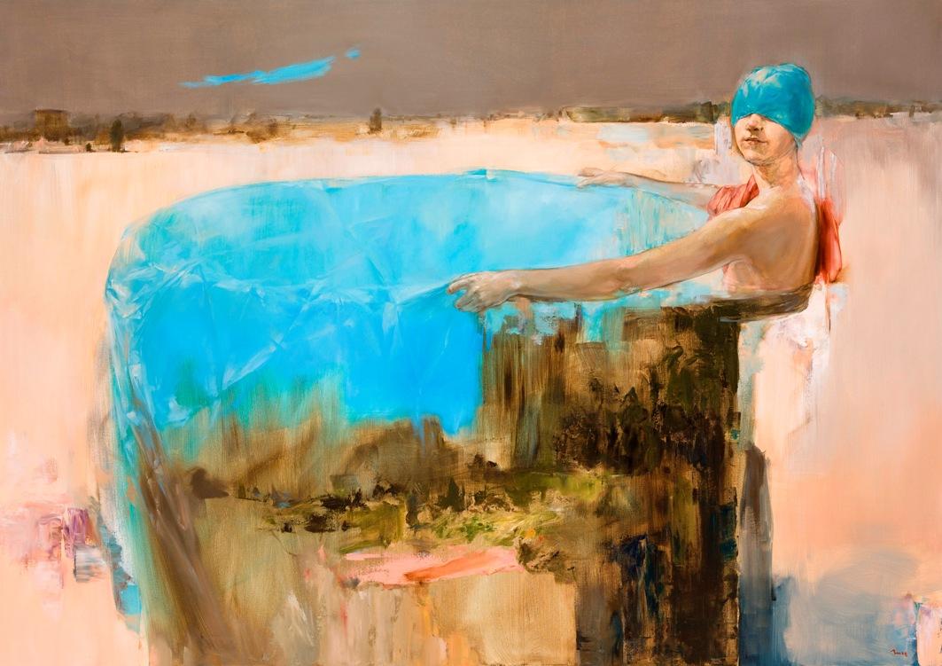 Incze Mózes, Fürdőző, 2014, olaj, vászon, 120x170 cm