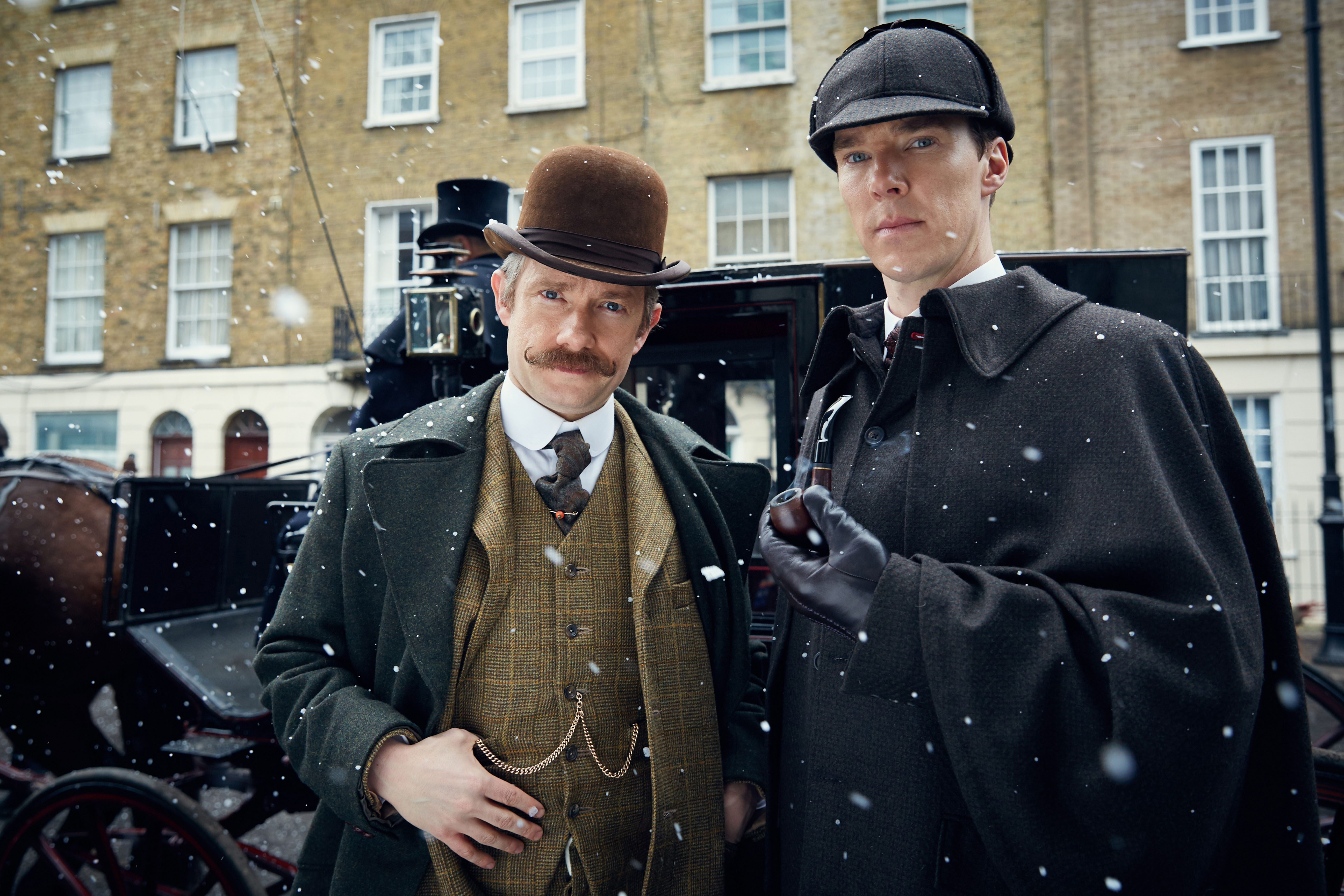 MASTERPIECE Sherlock: The Abominable Bride Picture Shows: MARTIN FREEMAN as John Watson and BENEDICT CUMBERBATCH as Sherlock Holmes © Robert Viglasky/Hartswood Films and BBC Wales for BBC One and MASTERPIECE This image may be used only in the direct promotion of MASTERPIECE. No other rights are granted. All rights are reserved. Editorial use only.