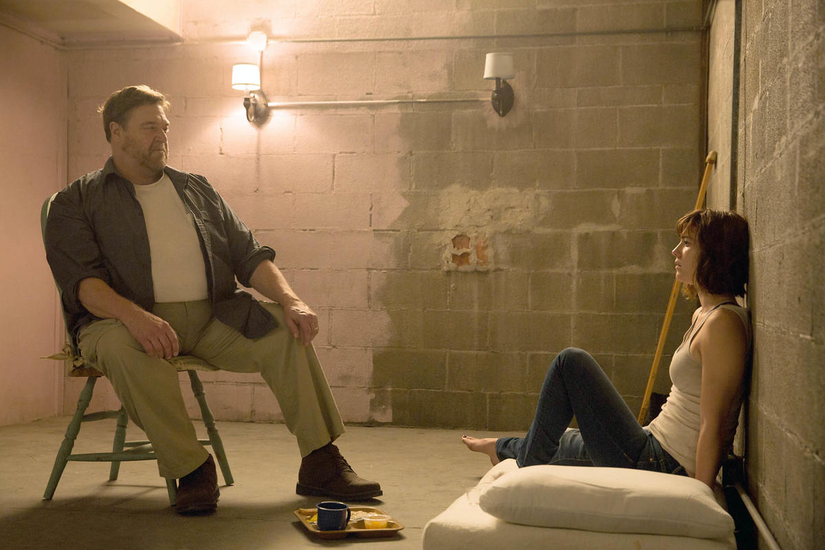 John Goodman as Howard; Mary Elizabeth Winstead as Michelle in 10 CLOVERFIELD LANE; by Paramount Pictures From Paramount publicity site