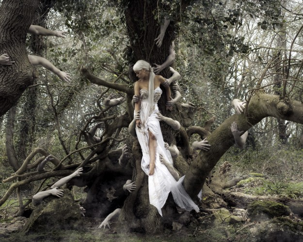 Tree-Zombie-Hands-Grabbing-Bride-In-White-Dress