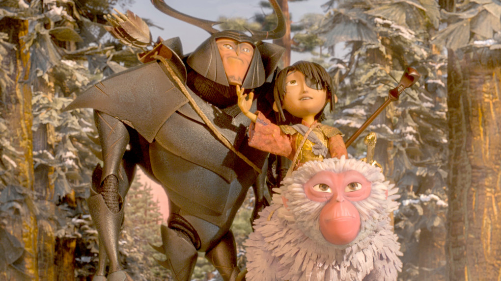 "(L-r.) Beetle, Kubo, and Monkey emerge from the Forest and take in the beauty of the landscape in ""Kubo and the Two Strings."" MUST CREDIT: Laika Studios-Focus Features"
