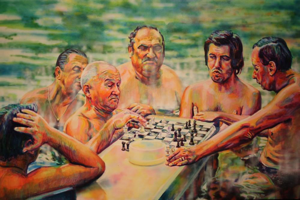 Mátis Rita: Széchenyi-fürdő, 2009, olaj, vászon, 70x110 cm.