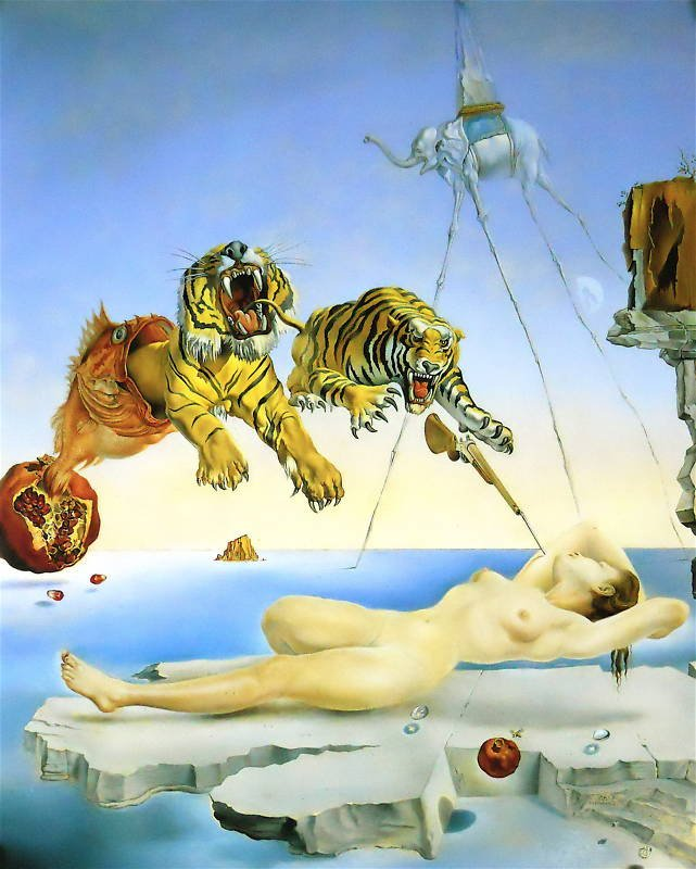 Salvador-Dali-Oil-Painting-Dream-Bee-Pomegranate-Flight