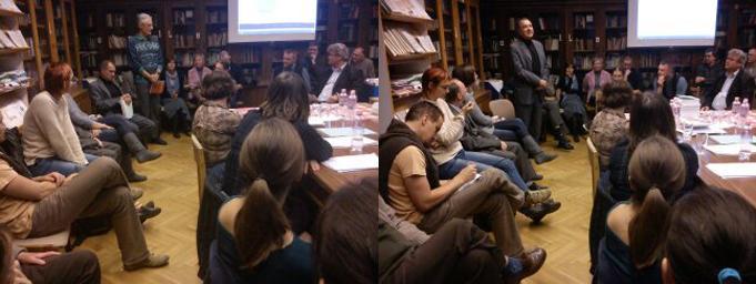 A korábbi és a jelenlegi szerkesztők eszmecseréje (jobbra Imre László tart beszédet)