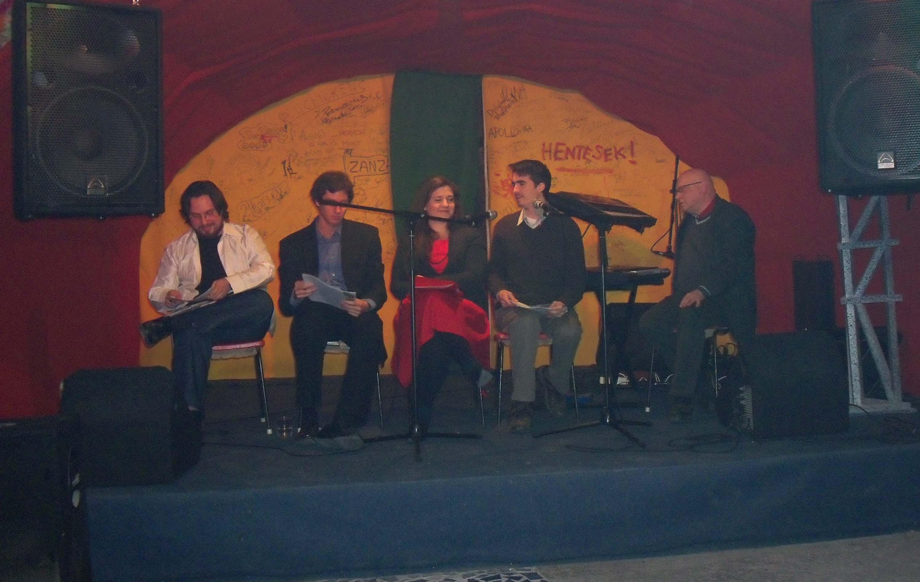 Az est főszereplői (balról): Nyerges Gábor Ádám, Vass Norbert, Torma Mária, Tarcsay Zoltán és Fráter Zoltán